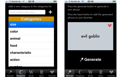 GenGen custom name generator for iPhone